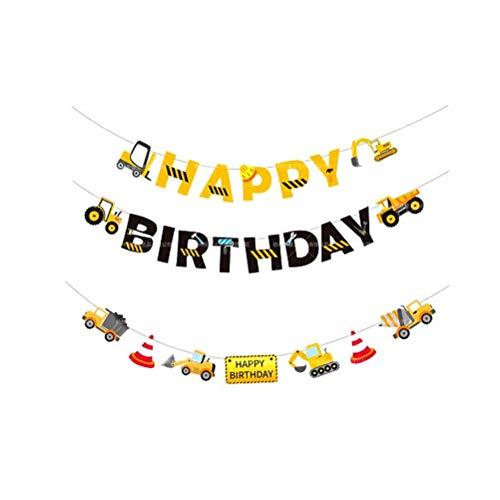 Amosfun 2 Stück Happy Birthday Banner Baufahrzeug Motto Wimpelkette Bagger Hängegirlande Zement LKW Party Dekoration (Birthday Lkw-happy)