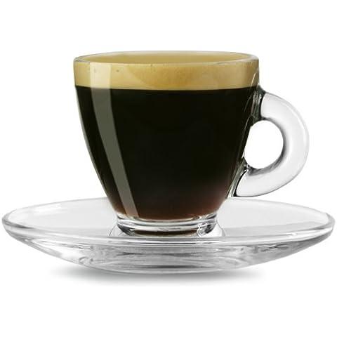 Bialetti - Juego de tazas para café espresso con platillos (2 unidades, 8 cl), transparente