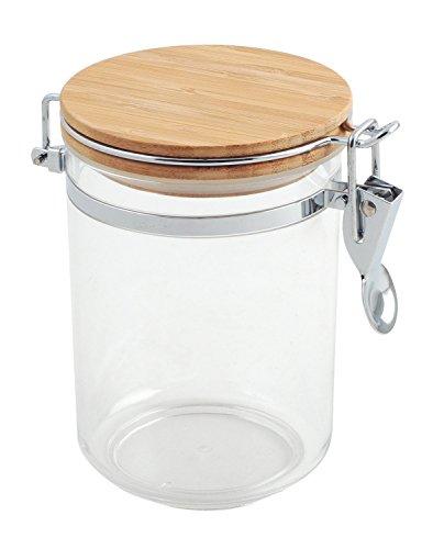 Bote cocina acrílico redondo, tapa bambú, 0.75...