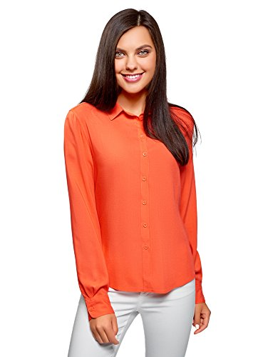 oodji Ultra Mujer Blusa Básica de Viscosa, Naranja, ES 42 / L