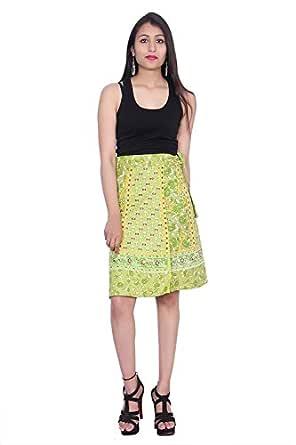Kastiel Green Cotton Wrap Printed Sanganeri Jaipuri Winter Skirt for Woman's/Girls