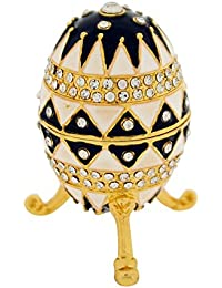 The Olivia Collection TOC Black & White Fabrege-Style Egg Trinket Jewellery Box