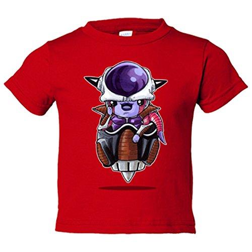 Camiseta niño Chibi Kawaii Freezer Transporte parodia de Dragon Ball - Rojo, 12-18 meses