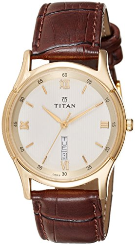 41vHhtmSuLL - Titan 1636YL02 Champagne Leather Strap Mens watch