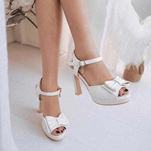 Heart&M Estate di stile casuale delle donne PU Bowknot Peep Sole peep-toe 10CM sandali degli alti talloni Bianca