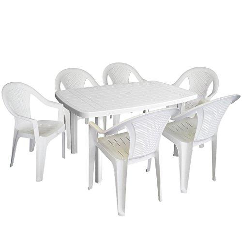 Einfaches Set 6+1 Kunststoff in Weiß