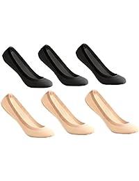 UMIPUBO 6 Pares Calcetines para Mujer Invisibles De Algodón Calcetines Cortos Elástco Con Silicona Antideslizante Anti-olor