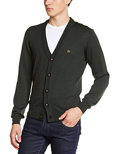 Merc of London Harris, Cardigan, Gilet Homme, Vert (Forest Green), Large (Taille Fabricant: L)