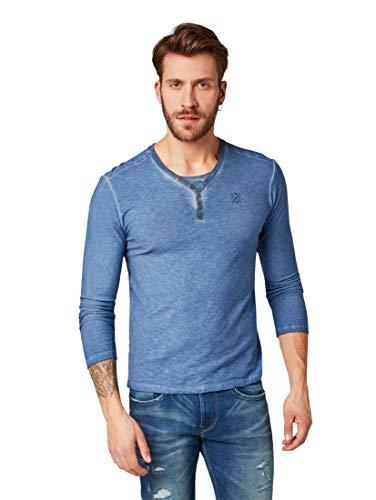 Yarn Dye Stripe Shirt (TOM TAILOR für Männer T-Shirts/Tops Gestreiftes Serafino-Shirt mit Underlayer Yarn Dye Stripe Blue, XXXL)