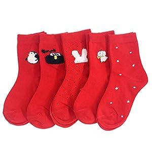 NUOBESTY 5 Paar Weihnachtsbabysocken die schweißabsorbierendes nahtloses atmungsaktives Baumwollsocken-Schuhwerk für Babykinder tragen