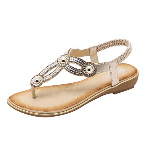 SHE.White Damen Sommer Bohemia Flach Zehentrenner Sandalen Strass Schuhe Riemchensandalen Sandaletten Strandschuhe Flip-Flop Flach Sommerschuhe