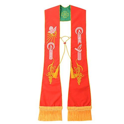 BLESSUME Sacerdote Reversibile Ha rubato Clero Liturgico squisito ricamato Ha rubato (Rosso &Verde)