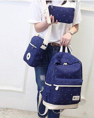 Mode Punkt-Muster-Segeltuch-Rucksack Teenager Schultasche 14,6 Zoll Laptop-Rucksack + Messenger Bag + Purse (Dunkelblau) - 2