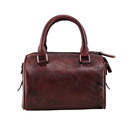 Portable simple handmade diagonale sacs à main en cuir sac à bandoulière en cuir sacs à main rétro original et décontracté Dark red