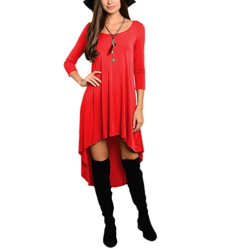 CoCo fashion - Robe - Trapèze - Manches Longues - Femme red