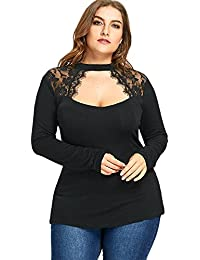 58534a205 CharMma Women's Gothic Plus Size Mock Neck Keyhole Sheer Lace Patchwork Top