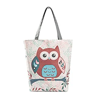 erthome Women Owl Printed Shoulder Bag Casual Canvas Tote Handbag Cartoon style shopping girl handbag (B)