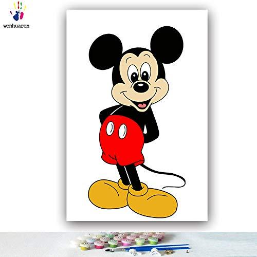 Malen nach Zahlen Kits Ölgemälde auf Leinwand, 30,5 x 45,7 cm, für Kinder, Studenten, Erwachsene, Anfänger mit Pinsel und Acryl-Pigment - Mickey Mouse Cartoon Bild (ohne Rahmen) -