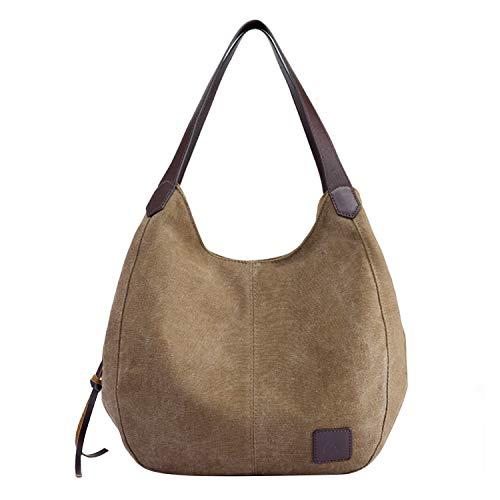 PB-SOAR Damen Mädchen Modern Canvas Shopper Schultertasche Handtasche Henkeltasche Hobo Bag Beuteltasche (Braun) -