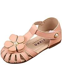 Malloom 0-6 Años Verano Niñas Infantiles Grandes Flores Hueco Perlas Sandalias Princesa Casual Zapatos