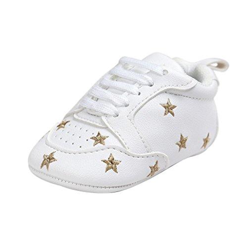 Baby Schuhe Auxma Für 0-18 Monate,Baby-Mädchen-nette Kleinkind-weiche alleinige lederne Schuhe Sterndekoration (11cm(0-6M), Schwarz) Gold