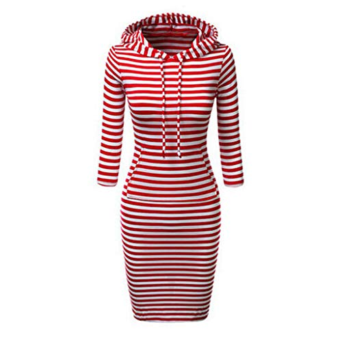 YBWZH Femmes Dress Casual Robe Rayée À Manches Longues Robe À Capuche Pull Poches Sweat Robe Slim Fit Jupes Confortables(Rouge,S)