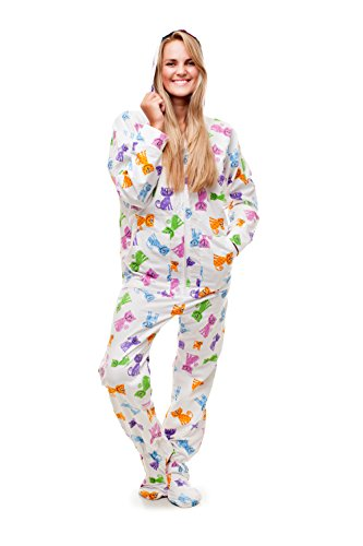 Kajamaz mit glücklichen Katzen: Schlafanzug mit Füßlingen für Erwachsene (Mittel)