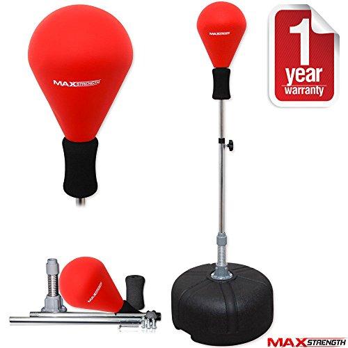 MAXSTRENGTH freistehender Punchingball / Speed-Ball, höhenverstellbar, reflektierend, für Erwachsene, rot
