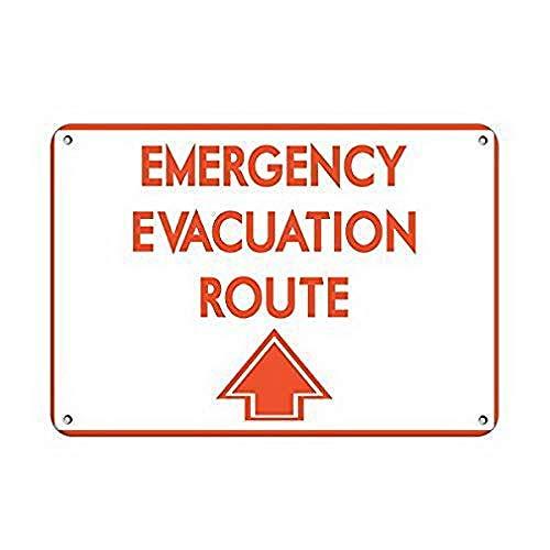 Emergency Evacuation Route with Up Arrow Emergency Targhe in Metallo Parete Segnale di Avvertimento Giardino Bar Ristorante Partito Figura Band Matrimonio Natale Regalo