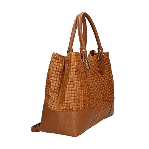 Chicca Borse Frauen-Handtasche mit Schulterriemen, Zöpfchen Drucken, echtem Leder Made in Italy - 37x27x14 cm Leder
