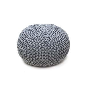 Art shopping - Pouf tricot en coton gris perle 50xH30cm