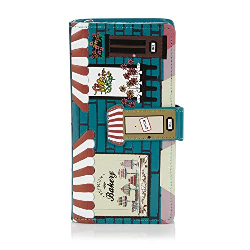 Shagwear portafoglio per giovani donne , large purse : diversi colori e design: (pasticceria turchese/ bakery)
