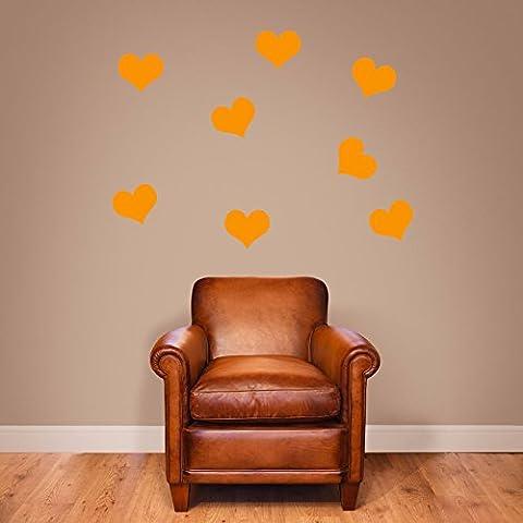 Cuori forme cuori set di 8, 16o 36Decorazioni da parete finestra adesivi da parete adesivi da parete Wall Art Decor Adesivi Adesivi da Parete in Vinile Decalcomanie Decorazioni DIY deco rimovibile Wall Decals Adesivi colorati, Vinile, 08 - Orange, Large Set X 8 - Nursery Wallpaper Murales