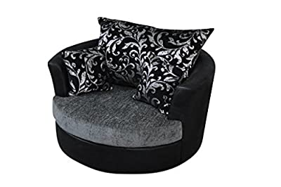 Large Swivel Round Cuddle Chair 2 Seater Fabric Chenille Leather Designer Scatter Cushions - cheap UK light store.