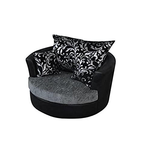 Large Swivel Round Cuddle Chair Fabric Chenille Leather Designer Scatter  Cushions (Black/grey)