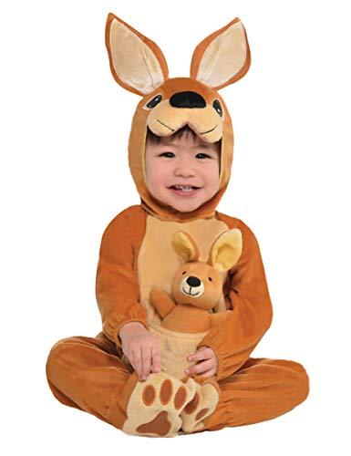 Malibulove costume da canguro per bebè travestimento neonato 1/2 anni tuta cappuccio pantofole peluche carnevale halloween cosplay
