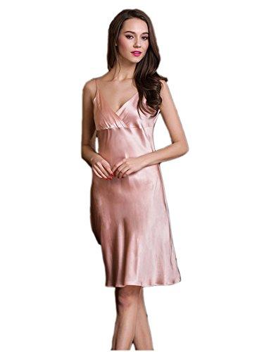 silktalk Mesdames Basic pour avant 100% pure soie robe Nuit 19Momme Rose