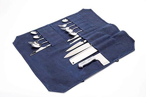 HGJ60-D Aufbewahrungstasche für Küchenmesser, mit 16 Fächern, gewachstes Leinen, Messer, Aufbewahrungstasche mit Zwei sicheren Kordeln, für 7 Messer, 3 Fleischspalten -