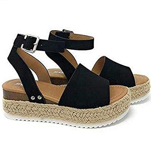 Large Size Leopard Sandals Women Europe and The United States Thick Bottom Hemp Braided Belt Ladies Sandals Black 43