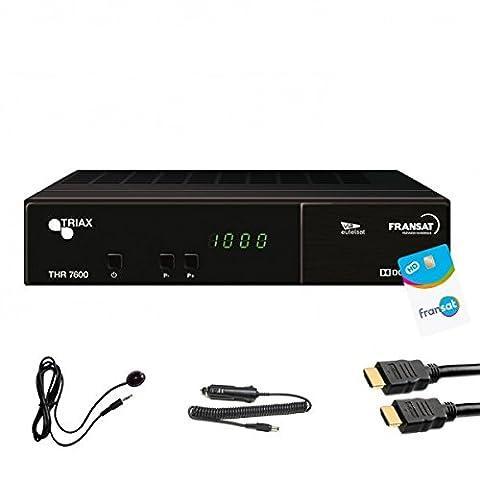 Triax THR 7600 HD Récepteur satellite + Carte FRANSAT + Cable 12V + Deport IR + Cable HDMi 2M