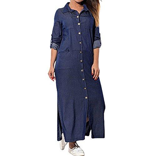DAY.LIN Kleider Kleidung Damen Damen Tasche lose Kleid Damen Rundhalsausschnitt beiläufige Lange Tops Kleid Plus Größe Große Größe Frauen Rundhals langärmelige Volltonfarbe Tasche (Marine 1, 3XL)