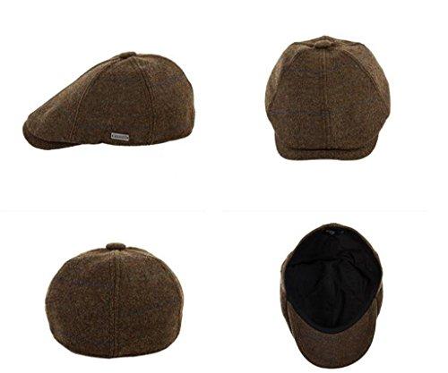 Hat Chapeau Hommes d'hiver et d'hiver coréen laine casquette épais béret chaud plaid peintre chapeau Marron