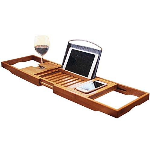 RoseFlower 104 x 20 cm Badewannenablage aus Bambus Ausziehbar Badewanne Caddy Badewanne Tablett mit Verstellbarer iPad, Buch, eReader, Handys, Wein Glas Halter - für das ultimative Verwöhnerlebnis #5