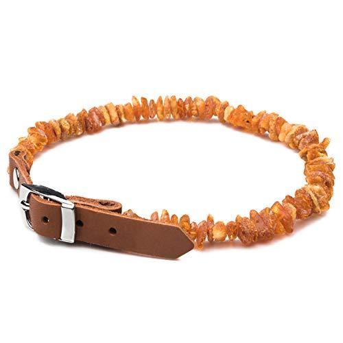 Bernstein Halsband! Handgemachtes, komplett natürliches baltisches Roh-Bernstein Floh- und Zeckenhalsband mit anpassbarer hell brauner Lederschließer für Hunde und Katzen/ Gemacht mit Liebe...(25-30 CM)