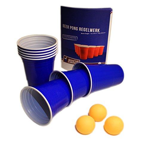 (Blaue Becher, Blue Party Beer Pong Cups 16 oz. 473 ml blau inkl. orangene Beer Pong Bälle und Beer Pong Regelwerk (100 St., 6 Bälle & Regelwerk))