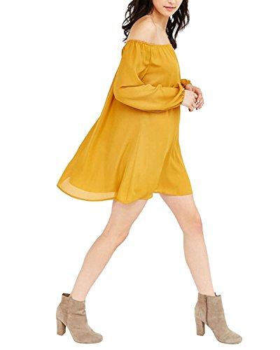 StyleDome Femme Mini Robe Mousseline Col Bateau Epaule Nue Manches Longues Casual Lâce Large Tunique Robe de Soirée Cocktail Jaune