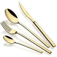 Monix Verona Gold Set de Cubiertos de 24 Piezas, Acabado Pulido Brillante Dorado, Acero