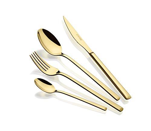Monix Verona Gold - Set de cubiertos de 24 piezas