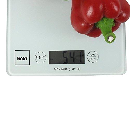 Kela 15740 Digitale Küchenwaage, Glas, 1 g-Feineinteilung, Tara-Funktion, Bis 5 kg Gewicht, Pinta, Weiß - 4