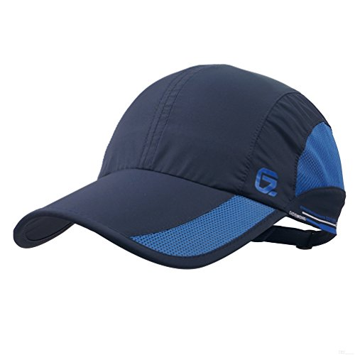 GADIEMKENSD Quick Dry Sports Hat Lightweight Breathable Soft Outdoor Run Cap (Classic up, Navy) -